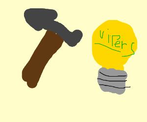 Bulb assault has graffiti on his bulb
