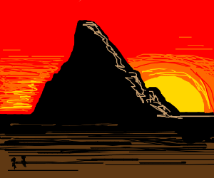 journey to a mysterious mountain in the sunset