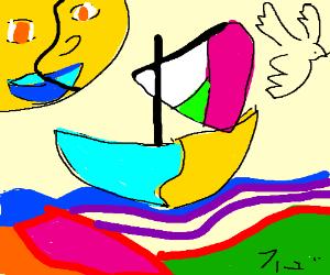 A ship drawn by a picaso 2.0