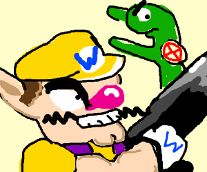 Wario is about to shoot godzilla