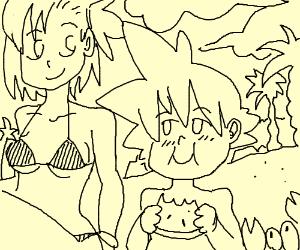 Son Goku relaxes on the beach