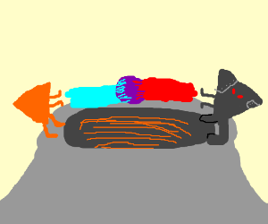 Nacho is fighting evil robot twin on volcano.