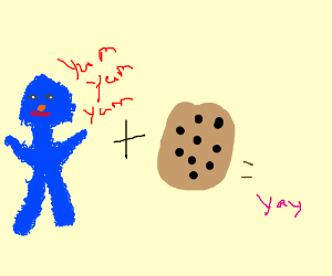 Cookie monster plus cookie equals yay