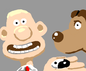 Wallace shows Gromit his yinyang