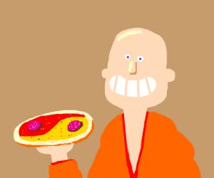 Monk makes yin/yang pizza