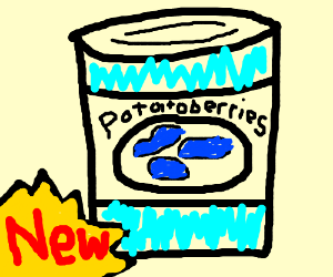 A can full of NEW! blueberry-potato hybrids.