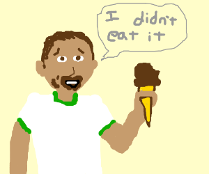 This? I didn't eat this ice cream!
