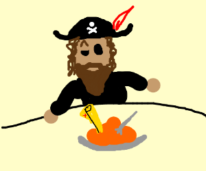 Pirate surprised to find treasure map in food