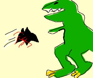 Bloody bat-arang is thrown @ dinosaur