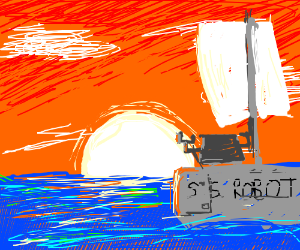 It always sets on robot boat