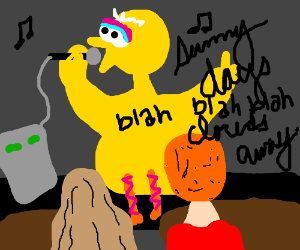 Big Bird does Sesame St theme at karaoke
