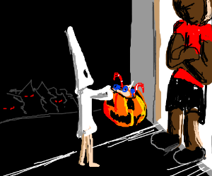 Kid in KKK costume at black man's door(h'ween)