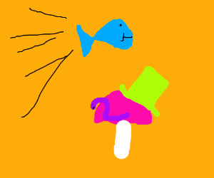 Blue fish flying over worm w hat on mushroom