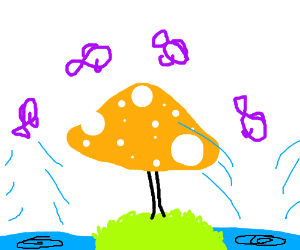 Fish jumping over magic mushroom