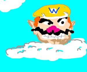 Wario's head floats across the sky...