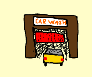 Car does into car wash