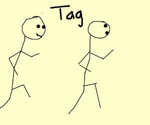 Two friends playing tag