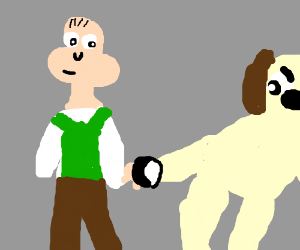 Wallace and Gromit hold a Ying Yang Button