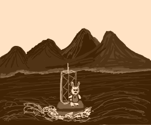Bunny on a buoy @ sea, mountains in background