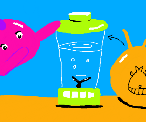 fish puts spacehopper into blender,makes water