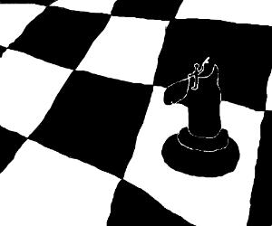 Tiny man rides atop a knight chess piece.