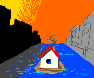 houseboat sailing down a sunny street