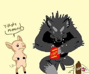 Big Bad Wolf Stole Little Pig's Junk Food