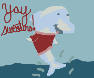 Dolphin leaps from water wearing a red sweater