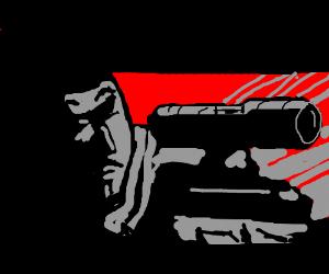 golgo 13 takes aim w/ sniper rifle