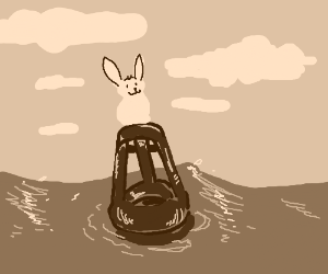 Happy rabbit living on a buoy