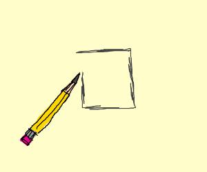 pencil draws a square