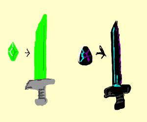 emerald sword and a black diamond sword.