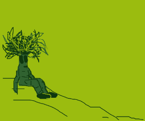 Person with a tree for a head sits on a hill
