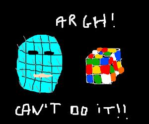 Pinhead has a hard time solving a rubik's cube
