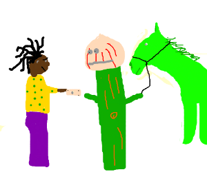 Rastafarian buys horse from onion & wood plank