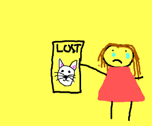 Weeping girl holds poster about her lost kitty