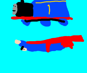 train flying over Superman