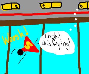 Superman flying below a train