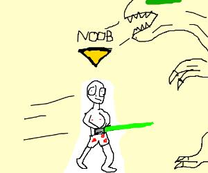 Noob fights dinosaur with green lightsaber