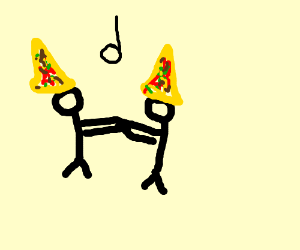 figure dancing with pizza on head