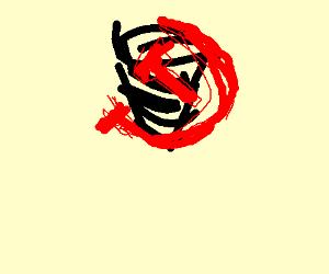Black funnel with soviet symbol on outside