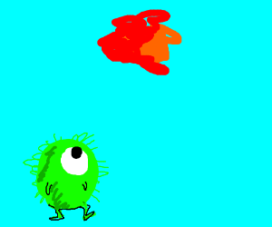 fuzzy alien observes a floating red mass