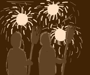 Broommates at fireworks display