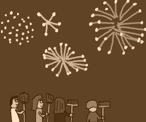 People watching fireworks while holding brooms
