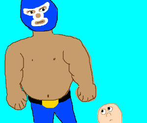Really fat masked man is bigger than me