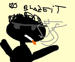 Shady guy in sunglasses smoking