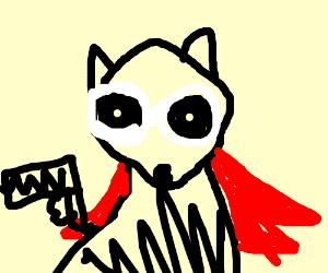 Raccoon superhero with a gun