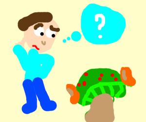 Man confounded at magical bean-eared mushroom