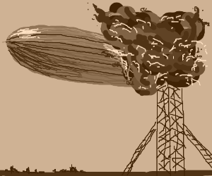 The Hindenburg disaster. Oh No! (well drawn!)