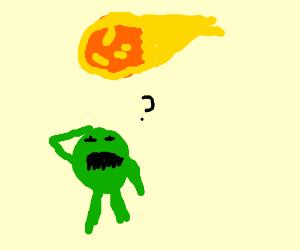 Green monster watches a fireball sail overhead